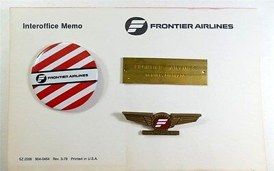 Frontier Airlines WINGS - PINBACK - Memo Pad - BRASS FRONTIER PLATE