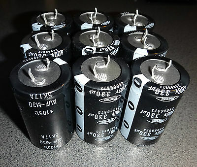 Lot of 9 new Marcon caps 330uF 400V 105C for switchmode or tube power supply.