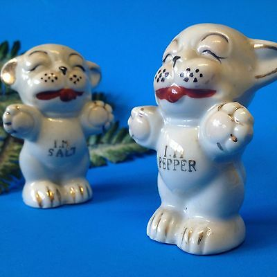 Vintage - Bonzo the Dog - Ceramic Salt & Pepper w Original Corks - Made in Japan