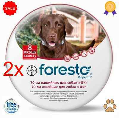 Bayer Foresto/Seresto Flea & Tick Collar for Large Dogs Over 18lbs(8kg) 2 Packs