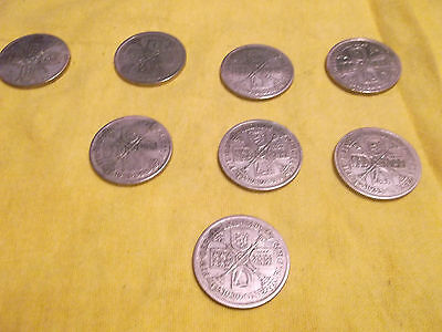 8 George V Silver Florin Coins - 1926 1928 1929 &1933