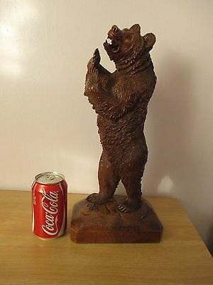 "Antique Large Quality 16"" Black Forest Standing Bear Signed Wood Carving Swiss"