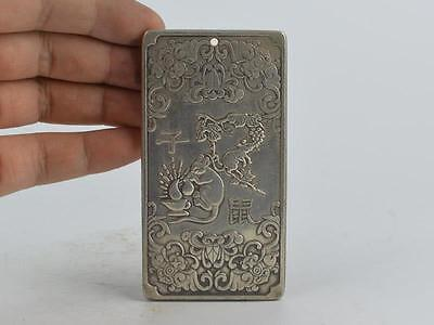 Collectible Decorated Old Tibet Silver Handwork Carved 12 Zodiac&mouse Pendant