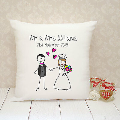 Personalised Cushion Cover - Present Gift - Wedding Mr & Mrs Doodle