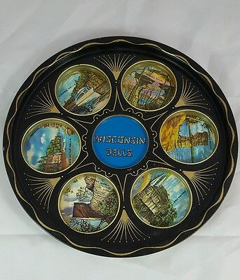 Wisconsin Dells Souvenir Round Metal Drink Holding Tray Platter Holds 6 Drinks