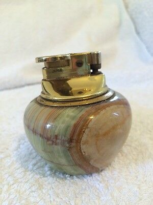 Vintage Retro Table Lighter 70s Japanese Paperweight Natural Stone Onyx Marble
