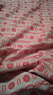 """Antique Mid 19th c Primitive  Red White Reversible Woven Coverlet 82"""" by 54"""""""