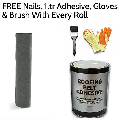 Green Shed Felt   Roofing Felt 5m (FREE Nails, 1ltr Adhesive, Gloves & Brush)