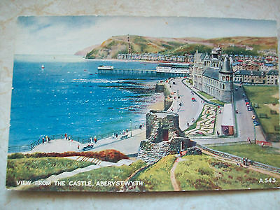 """Vintage Postcard """"View From The Castle Aberystwyth"""" Valentines"""