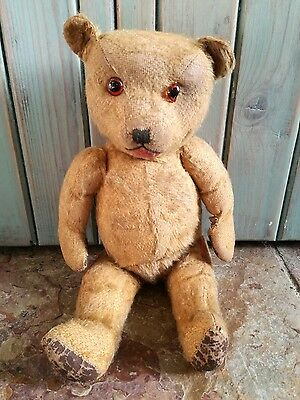 LOVED OLD VINTAGE ANTIQUE CHILTERN HUGMEE GOLD MOHAIR TEDDY BEAR SOFT TOY 1940's