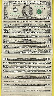 Federal Reserve Note One Hundred Dollar Bills..old Currency..$100.lesser Grades