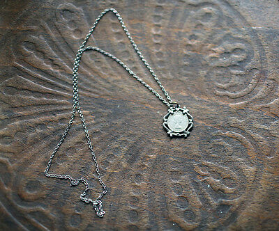 Vintage Silver Plated Lucky Sixpence Necklace Pendant 1964