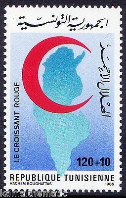 Tunesia 1986 MNH 1v, Red Cross, Red Cresent, Map   - R4