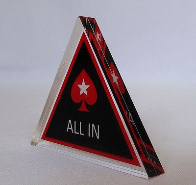 ALL IN Button Acrylic Triangle PokerStars Dealer Brand New for Poker Cards