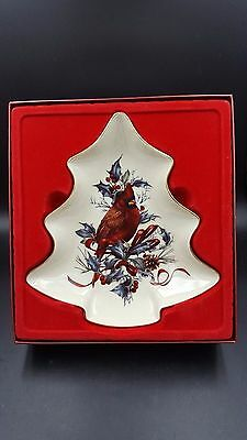 Lenox American Home Collection Winter Greetings Tree Shaped Dish Red Cardinal