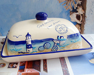 Ceramic Nautical Butter Dish Plate TRAY HOLDER Fridge Storage Kitchen Country