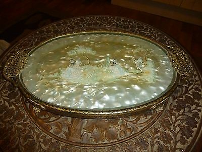 Antique Brass and Glass Coffee/Tea Tray