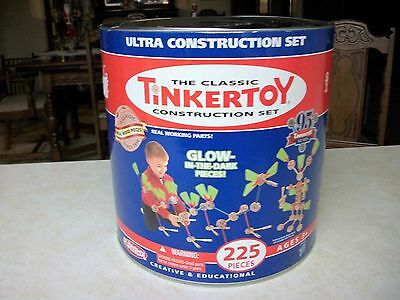 TINKERTOY GLOW in the Dark Ultra Construction Set in Tin 224 pieces-missing 1pc