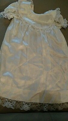 Vintage  Baby Christening dress  ~  White Satin & Lace Dress and pearls