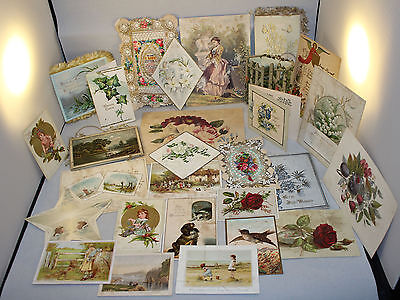 Collection Of Antique Victorian Greeting Cards Inc Xmas,Valentines & Cuttings