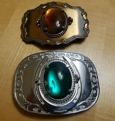 Lot Of 2 Vintage Cowboy Rodeo Western Theme Nice Quality Costume Buckles