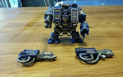 venerable dreadnaught with three weapons loadouts. 40k space marine
