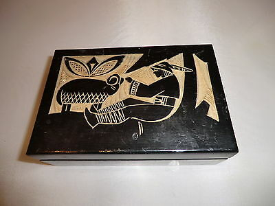 Old Decorative Hand Carved Hinged Lid Box Carved Lid Chinese/tibet??