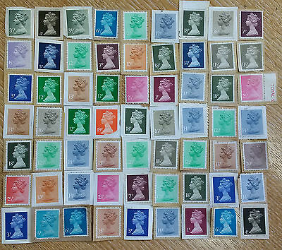 Old Vintage Unfranked Stamps on Paper Job Lot of 63 Half Penny Collectable