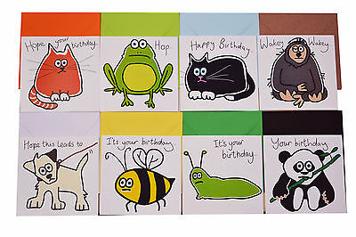 NEW! Pack of 8 x various birthday cards pack, cute animals.