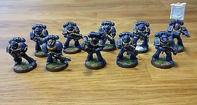 10 man tactical squad including sergeant, flamer and rocket. 40k space marine