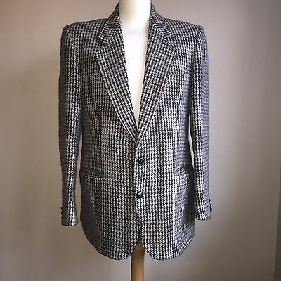 "Harris Tweed Blazer 42"" Chest Dog Tooth Weave Size Large"