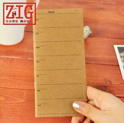 """Kraft cover 3.1"""" x 6.7"""" weekly planner 24 Sheets 90gsm Ivory paper notebook"""