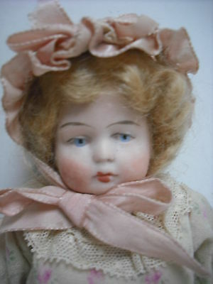 """Antique German 6.5""""  All Bisque Doll  #9919 Nicely Dressed"""