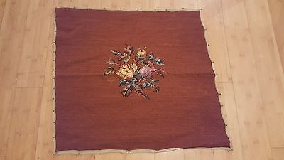 VTG Needlepoint Chair Cover 22x23 Completed Dark Rose Wine FLORAL MOTIF