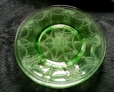"""Green Depression Glass Luncheon Plate 8.25"""" Cameo Ballerina (3 available )"""