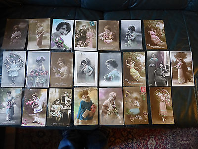 lot n°1 : de 22 cpa fantaisie theme belle femme fille carte postale ancienne