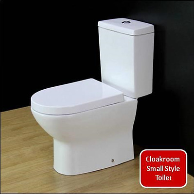 Modern White Ceramic Round WC Bathroom Cloakroom Close Coupled Toilet