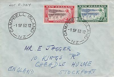 A 376 Campbell Island (sub antarctic) September 1952 cover to UK; Health stamps