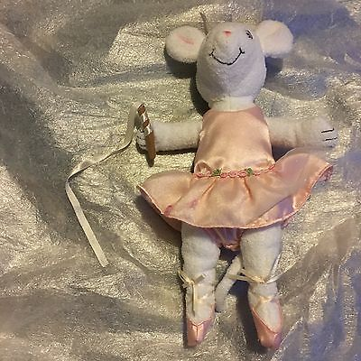 "Official Angelina Ballerina 12"" White Mouse Flower Tutu Plush Soft Toy VGC"