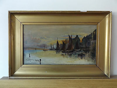 Antique Vintage H.dawson Oil On Canvas Painting Fishing Fleet Moored In Harbour.
