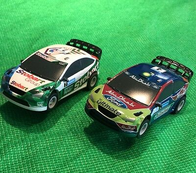 Micro Scalextric Pair Of 1:64 Ford Focus Rally Cars