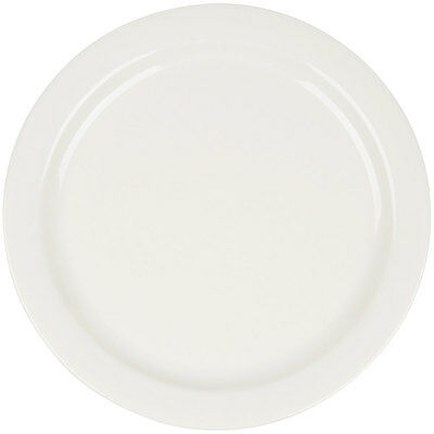"12 NEW Core 10 1/2"" Ivory Narrow Rim Restaurant Catering China Plates 303TNR16"