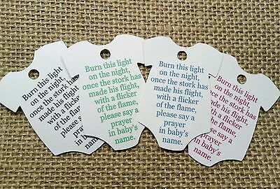 25x Baby Vest Shaped Tags Baby Shower Tags Candle Light Favour Tags