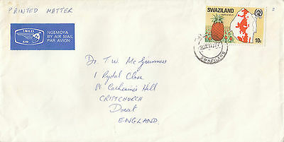 A 1391 Swaziland 1977 airmail cover to the UK; printed matter rate