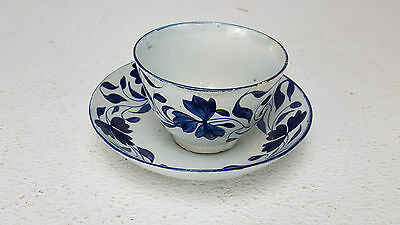 Antique Leeds Pearlware Cup & Saucer Blue Hand Painted Floral