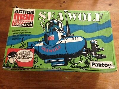 vintage Palitoy action man transport command seawolf avec boite , with box