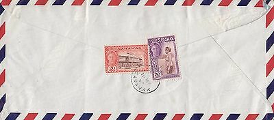 A 2116 Sarawak  1953 airmail cover to UK; 70c rate; 2 stamps used