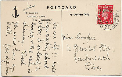 Orient Line Isle of Wight 1939 Orion postcard