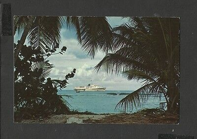 Vintage Colour Postcard Cruise Ship Moored off Pigeon Point Tobago West Indies