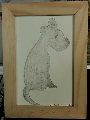 AFTER LOWRY, LOWRY'S DOG, ORIGINAL PENCIL SIGNED,  FRAMED SIZE 18 x 13  cm